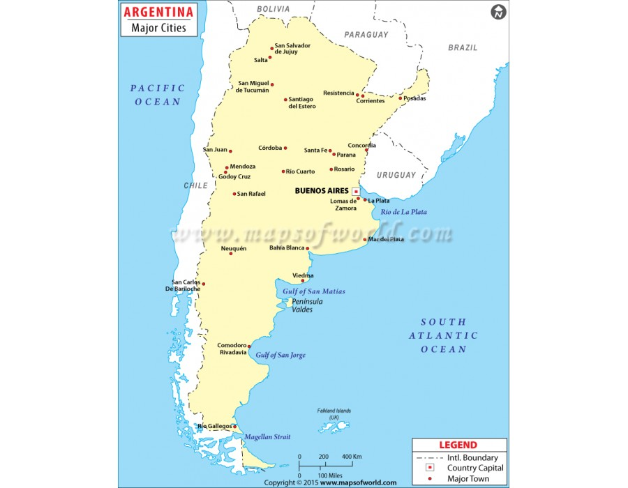 argentina major cities map Buy Map Of Argentina Cities argentina major cities map