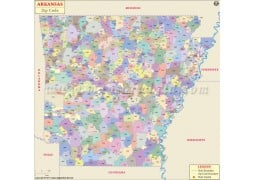 Arkansas Zip Code Map - Digital File