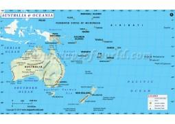 Australia and Oceania Map - Digital File
