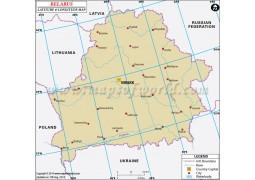 Belarus Latitude and Longitude Map - Digital File