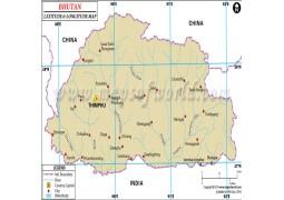 Bhutan Latitude and Longitude Map - Digital File