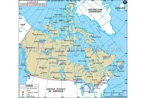 Map Of Canada Longitude Buy Canada Latitude and Longitude Map