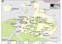 Carnegie Mellon University in Pittsburgh Pennsylvania Map - Digital File