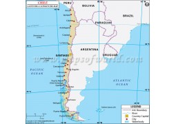 Chile Latitude and Longitude Map - Digital File