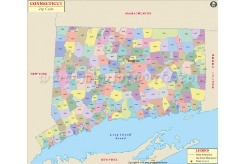 Connecticut Zip Code Map