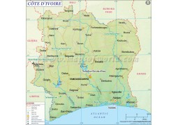 Cote d'Ivoire (Ivory Coast) Map - Digital File