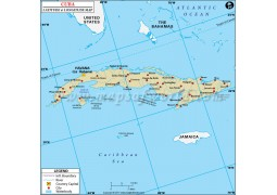 Cuba Latitude and Longitude Map - Digital File