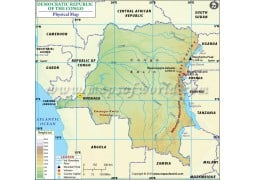 Democratic Republic of The Congo Physical Map - Digital File