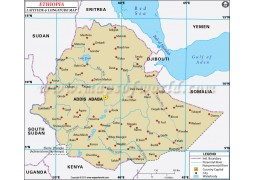 Ethiopia Latitude and Longitude Map - Digital File