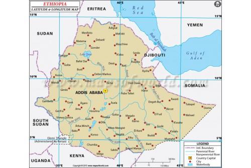 Ethiopia Latitude and Longitude Map