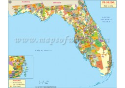 Florida Zip Codes Map - Digital File