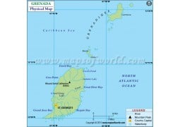Grenada Physical Map