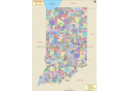 Indiana Zip Code Map - Digital File