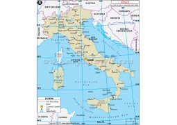 Italy Latitude and Longitude Map - Digital File