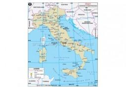Italy Latitude and Longitude Map - Digital File
