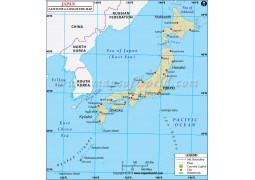 Japan Latitude and Longitude Map - Digital File