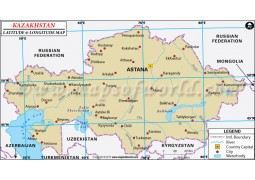 Kazakhstan Latitude and Longitude Map - Digital File