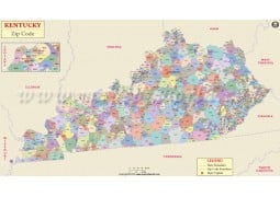 Kentucky Zip Code Map - Digital File