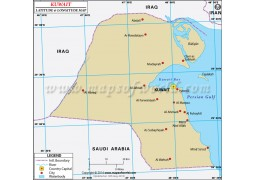 Kuwait Latitude and Longitude Map - Digital File