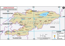 Kyrgyzstan Latitude and Longitude Map - Digital File