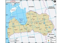 Latvia Latitude and Longitude Map - Digital File