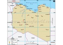 Libya Latitude and Longitude Map