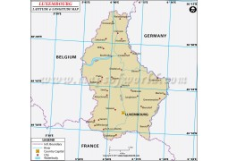Luxembourg Latitude and Longitude Map - Digital File