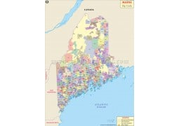 Maine Zip Code Map - Digital File