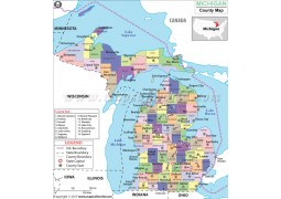 Michigan County Map - Digital File