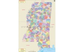 Mississippi Zip Code Map - Digital File