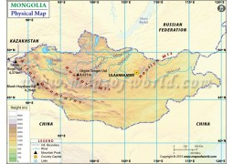 Mongolia Physical Map - Digital File