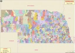 Nebraska Zip Code Map - Digital File