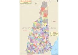 New Hampshire Zip Code Map - Digital File