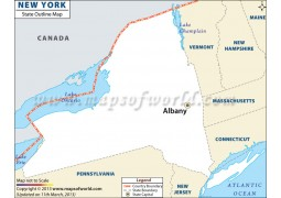 New York Outline Map - Digital File
