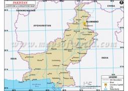 Pakistan Latitude and Longitude Map - Digital File