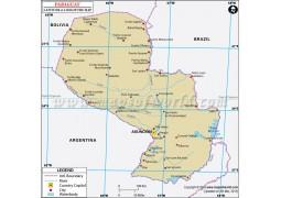 Paraguay Latitude and Longitude Map - Digital File