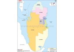 Political Map of Qatar - Digital File