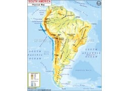 South America Continent Physical Map - Digital File
