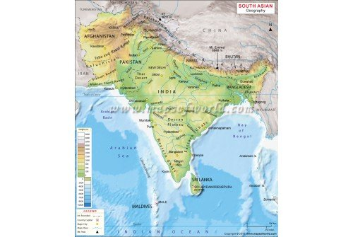 Buy South Asia Geography Map – The Map of South Asia
