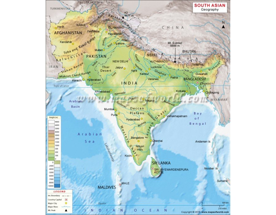 south asia geography map geographical