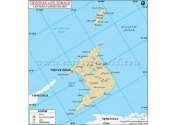 Trinidad and Tobago Latitude and Longitude Map - Digital File