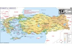 Turkey and Greece Map - Digital File