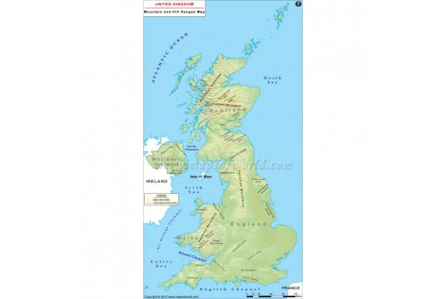 UK Mountains and Hill Ranges Map