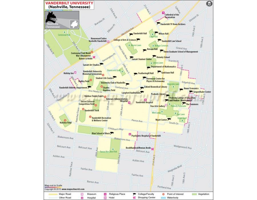 Buy Vanderbilt University in Nashville Tennessee Map