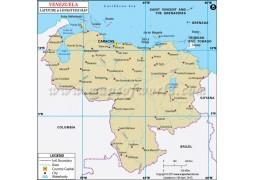 Venezuela Latitude and Longitude Map