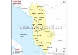Map of Albania with Cities - Digital File