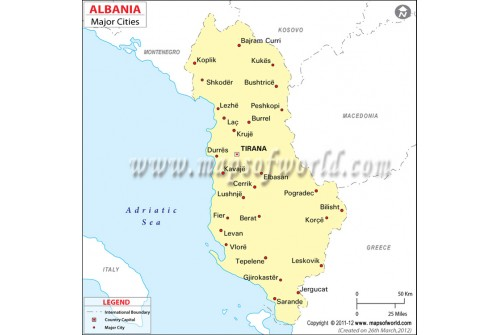 Map of Albania with Cities