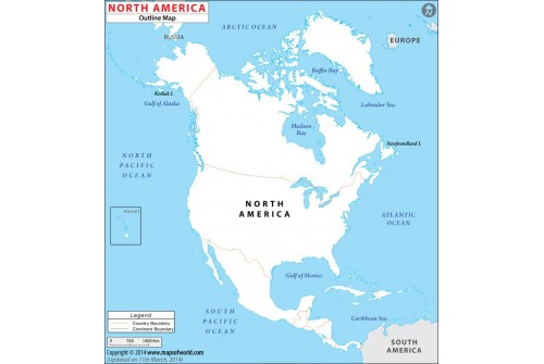 Blank Map of North America Continent