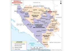 Political Map of Bosnia and Herzegovina