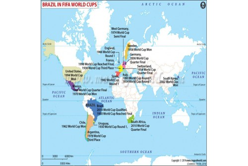 Map showing the journey of Brazil football team in FIFA